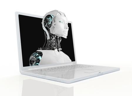 robot woman: computer robot background
