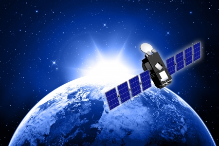 blue planet earth and satellite in space  Stock Photo - 16774439