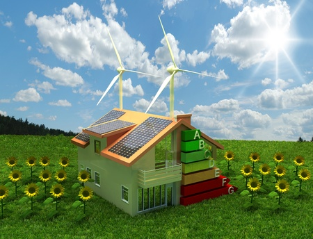 human energy: house energy saving concept Stock Photo