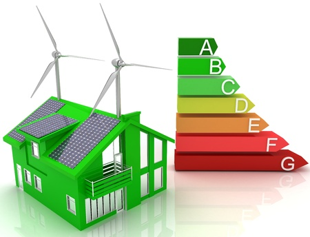 solar wind: house energy saving concept Stock Photo