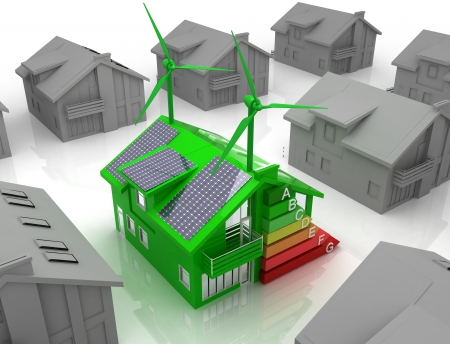 sustainable energy: house energy saving concept Stock Photo