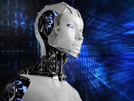 robot: robot androide mujer en fondo binario