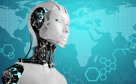 robot android women in binary background Standard-Bild