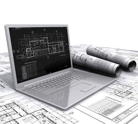 detached house: laptop architectural plans