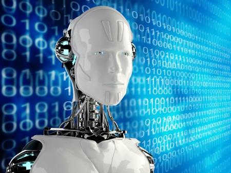 androïde mannen in binaire achtergrond Stockfoto