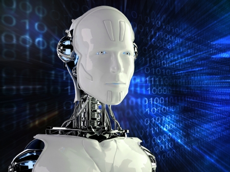 robot android men in binary background