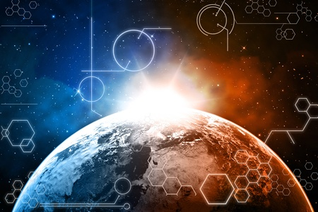 dimensionally: earth technology background Stock Photo