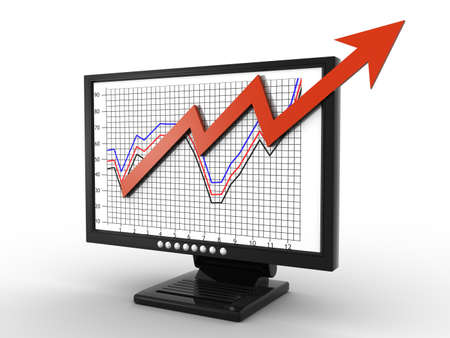 dimensionally: business graph on screen Stock Photo