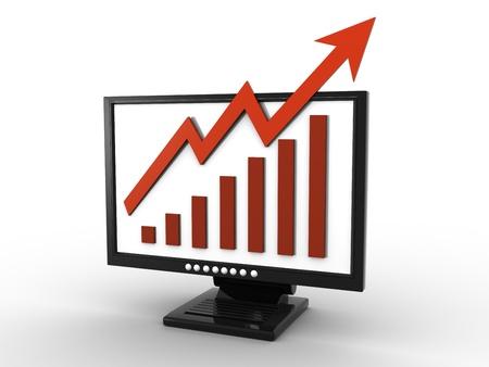 business graph on screen Standard-Bild