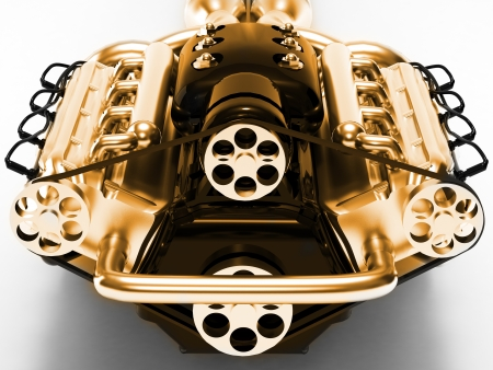 Motor weergegeven op een witte achtergrond
