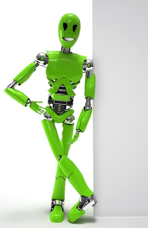 robot smiling isolated photo