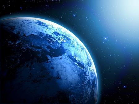 スペースで日の出と惑星地球