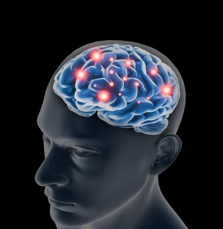 인간의 사고의 뇌, 그리고 펄스 처리 스톡 콘텐츠