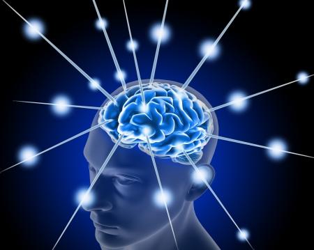 nervios: cerebro, y los pulsos de proceso de pensamiento humano Foto de archivo