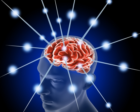 brain cells: brain, and pulses  process of human thinking