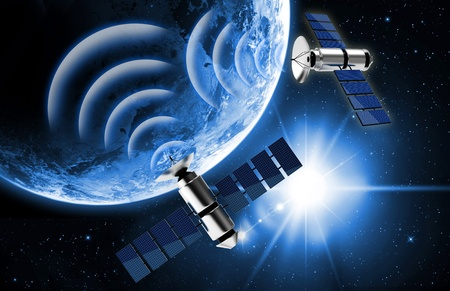 global positioning system: blue planet earth and satellite in space