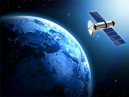 satellite isolated on white background photo