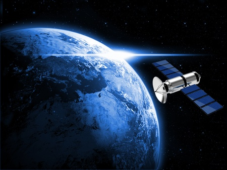 satellite in space: blue planet earth and satellite in space