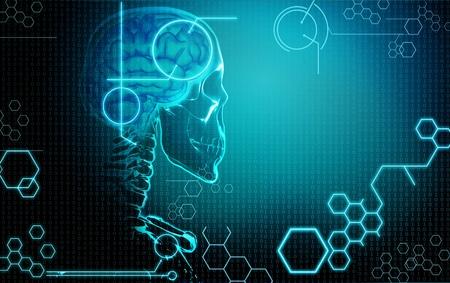 computer achtergrond met menselijke hersenen