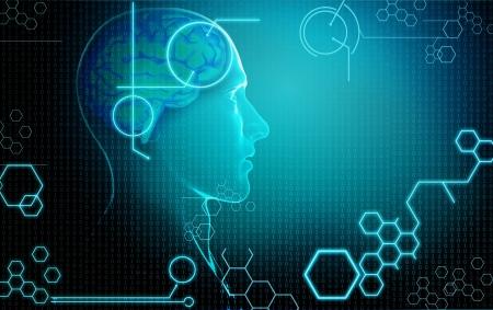 인간의 뇌와 컴퓨터 배경 스톡 콘텐츠