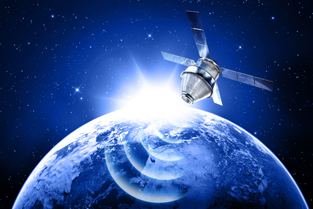 dimensionally: blue planet earth and satellite in space