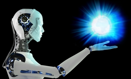 chrome man: robot android men with light energy