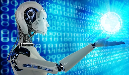 inteligencia: robot mujer androide con luz
