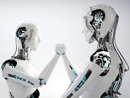 robot men in team work