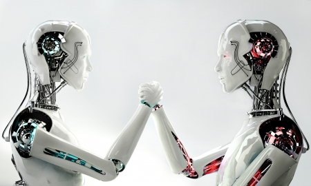 robot android men in competition