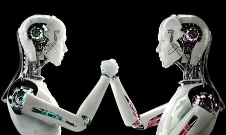 競争の中でロボット アンドロイド男性 写真素材