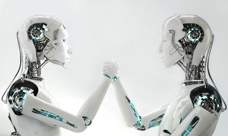 mannen en vrouwen robot samen Stockfoto