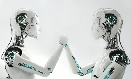men and women robot together photo