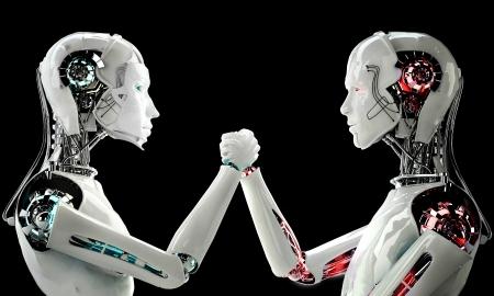 여성 로봇 대 남성 로봇 스톡 콘텐츠