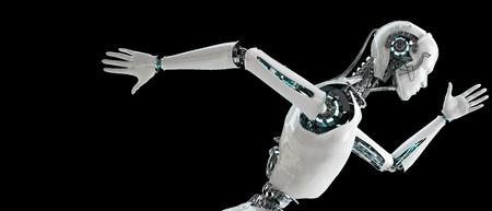 robot: hombres android robot corriendo