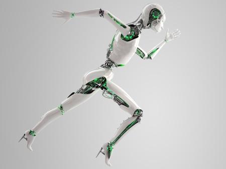 robot android women running  Stock Photo
