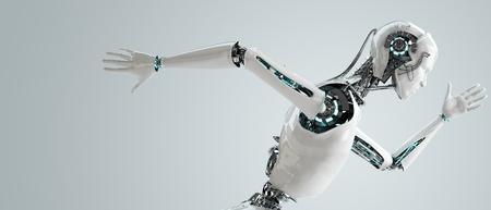 実行しているロボット アンドロイド男性