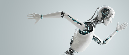 robot android men running Stock Photo - 23327264