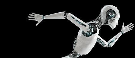 ロボット アンドロイドの女性を実行します。 写真素材