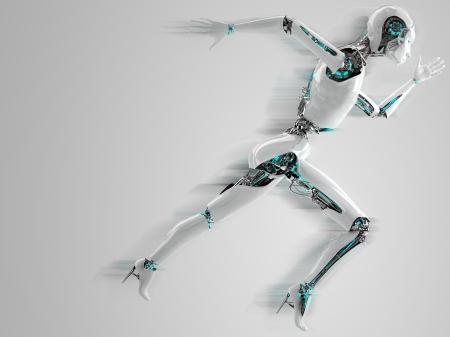 シャドウの速度で実行しているロボット アンドロイド女性
