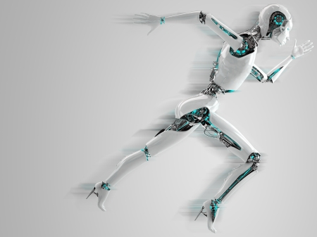 robot android women running with shadow speed