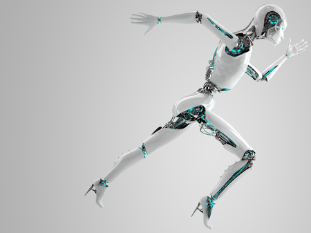 robot android women running  photo