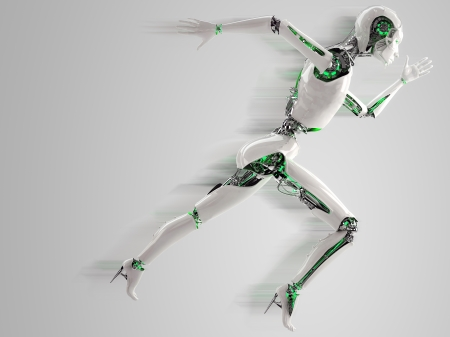 humanoid: robot android women running with shadow speed