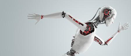 ロボット アンドロイド男性を実行しています。 写真素材