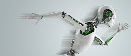 로봇 안드로이드 여자를 실행 속도 개념 스톡 콘텐츠