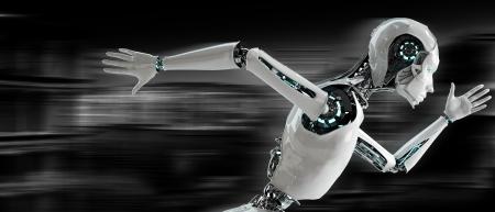 Androïde de robot de fonctionnement concept de vitesse Banque d'images - 23425673