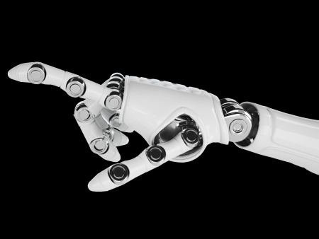 Isolated robotic pointing arm on background photo
