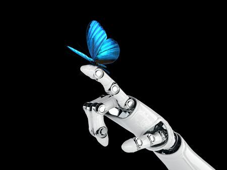 Roboterhand und Schmetterling Standard-Bild - 23425675