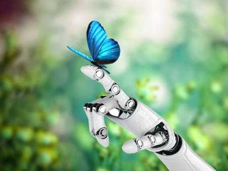 mano del robot y la mariposa