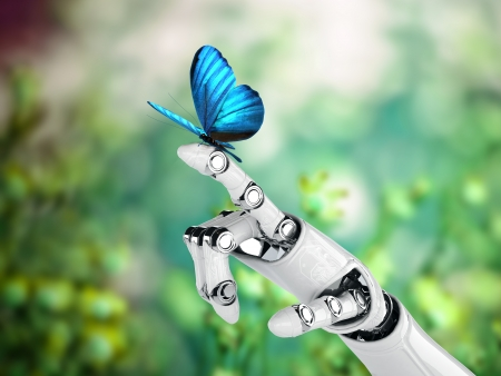 robot hand and butterfly Stock Photo
