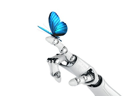 robot hand: robot hand and butterfly Stock Photo